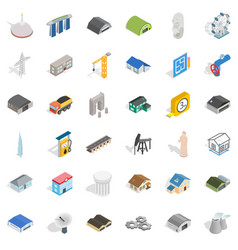 architecture object icons set isometric style vector image