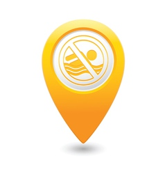 beach closed symbol yellow map pointer vector image