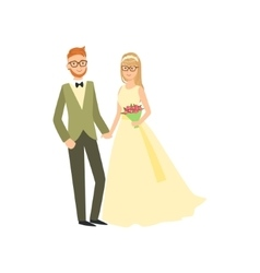 Bride and groom in glasses newlywed couple in vector