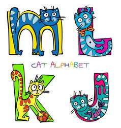 Cat alphabet j k l m vector