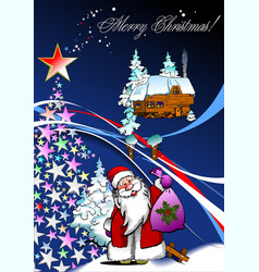 christmas - new year background with santa image vector image vector image