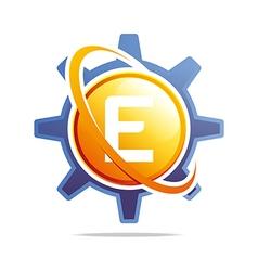 circle globe gear letter e orange abstract vector image