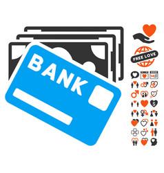 Credit money icon with valentine bonus vector