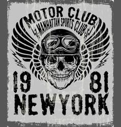 dead biker tee graphic design vector image vector image
