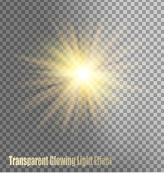 Glowing light effect on transparent background vector
