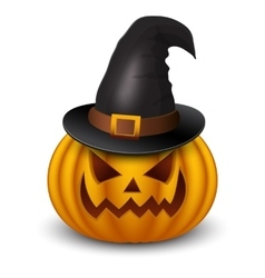 Halloween pumpkin with heat isolated on white vector image