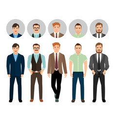 handsome men dressed in business style vector image vector image