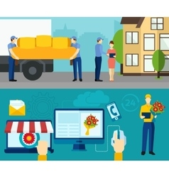 Home delivery service flat banners set vector image