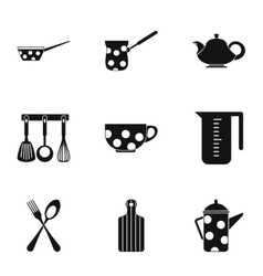 Kitchen utensils icons set simple style vector
