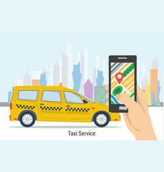 Mobile taxi order - best service vector