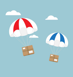 package flying with parachute e-commerce shipping vector image vector image