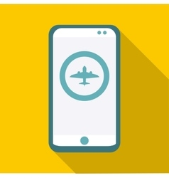Phone with app plane icon flat style vector