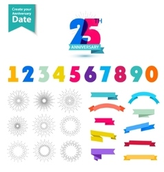 set of anniversary numbers design Create vector image