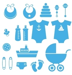 Set of baby boy elements icons vector