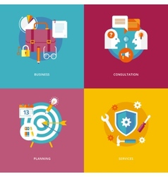 Set of flat design concept icons for business and vector image vector image