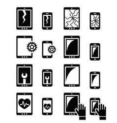 Smartphone tablet repair - broken screen icons vector