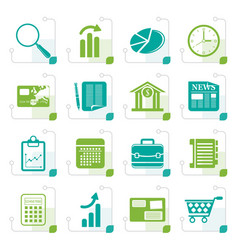 stylized business and office internet icons vector image vector image