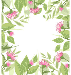 Thistle with green leaves vector
