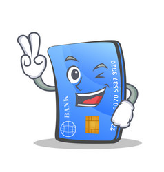 Two finger credit card character cartoon vector