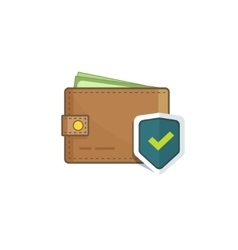Wallet money protected with shield icon isolated vector image