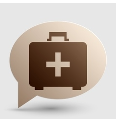 Medical first aid box sign brown gradient icon on vector