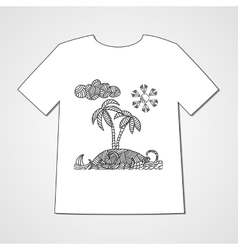 Hand drawn doodle pattern with tropical island vector image