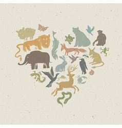 Animals silhouettes heart shaped vector