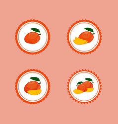 Design stickers with ripe yummy mango vector