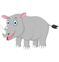 Happy rhino cartoon vector
