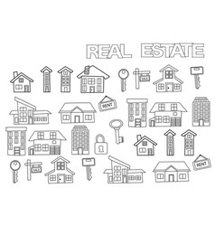 Hand drawn real estate set coloring book page vector