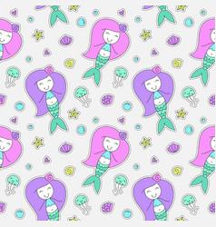 mermaids seamless pattern vector image