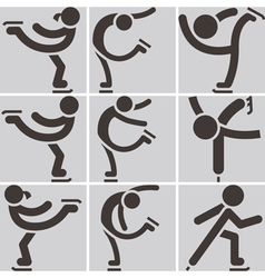 Figure skating icons vector