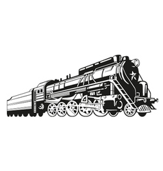 High-detailed locomotive silhouette vector