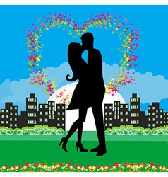 kissing couple in a romantic night vector image