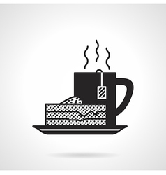 Tea and pie black icon vector