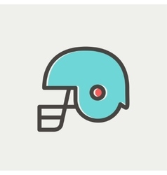 Football helmet thin lien icon vector