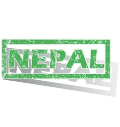Green outlined nepal stamp vector