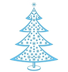 Furtree with snowflakes vector