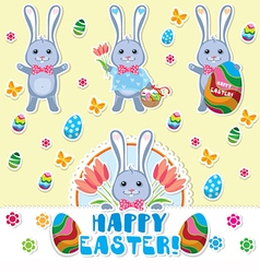 Easter rabbits set vector