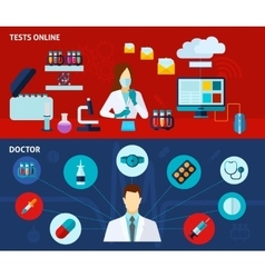 Medical laboratory 2 flat banners set vector