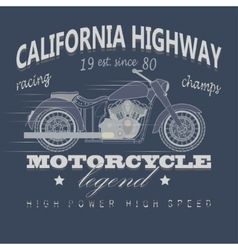 Motorcycle racing typography california highway vector