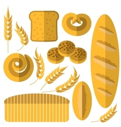 Set of bakery products vector
