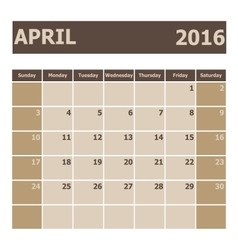 Calendar april 2016 week starts from sunday vector