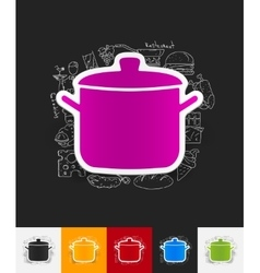 Saucepan paper sticker with hand drawn elements vector