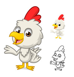 Little chicken with present hand vector