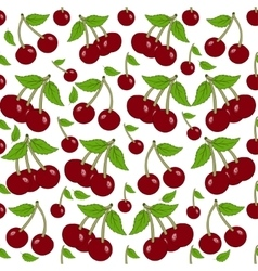 Seamless background with cherry berries vector