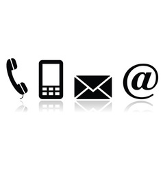 Contact black icons set - mobile phone email vector image
