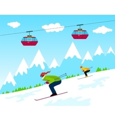 Winter ski resort vector