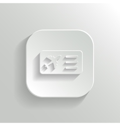 Airplane ticket icon - white app button vector