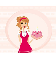 Beautiful lady with birthday cake vector image vector image